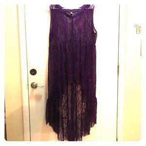 Purple lace hi/low shirt plus size
